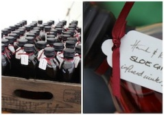 Wedding favours sloe gin